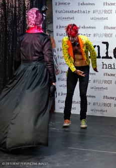 Kim - Pimp Clown and Matriarch - Nan on stage